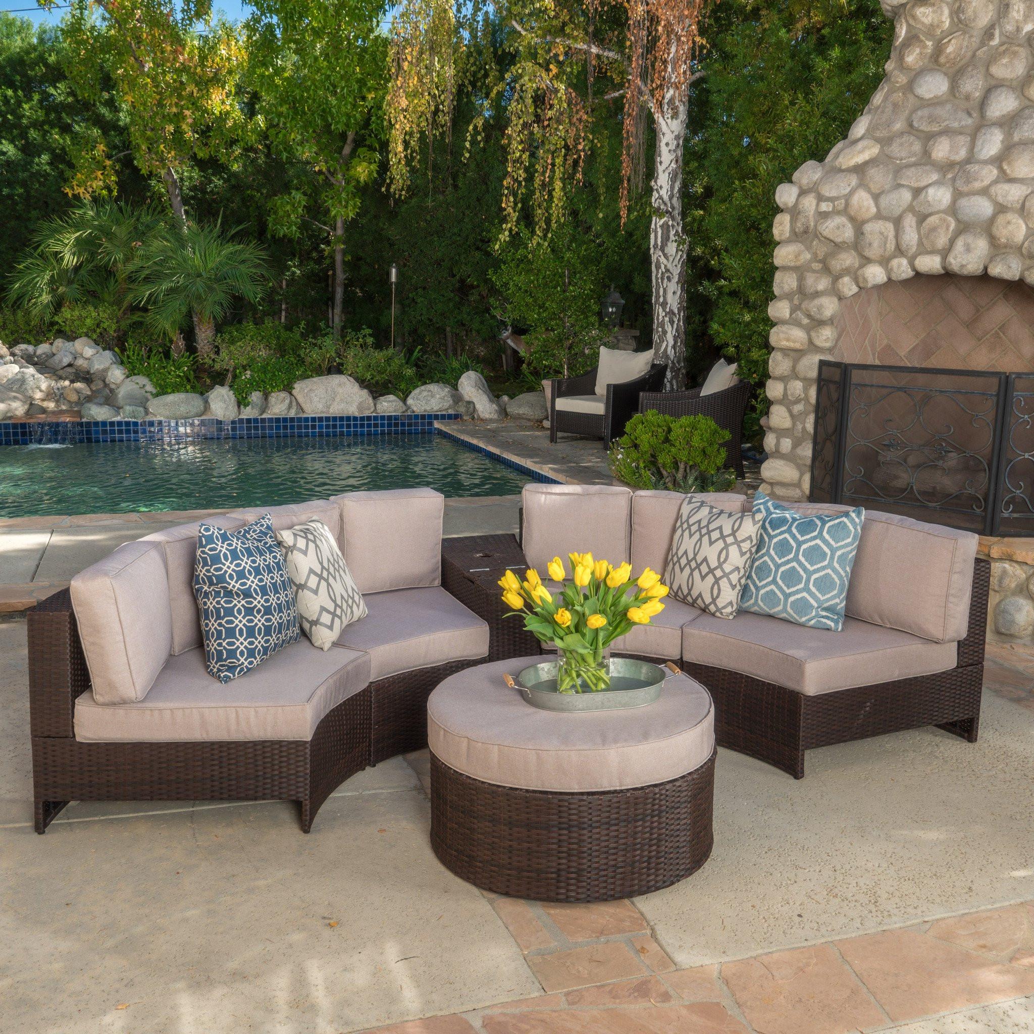 Riviera 6pc Outdoor Sectional Sofa Set w/ Storage...