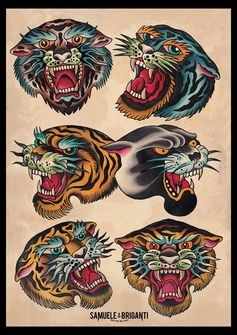 tiger panter traditional tattoo posted by carolina on tattoos share sunday. Black Bedroom Furniture Sets. Home Design Ideas