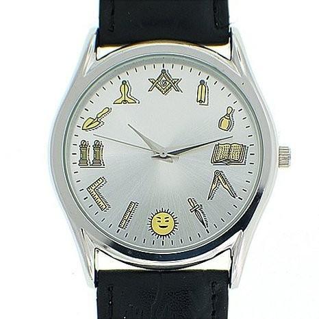 49b96144 Working Tools - Masonic Watch - Black Leather Band - Round White ...